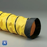 10 inch I.D. Spring Flex SD-W yellow 1-ply neoprene coated polyester with black wearstrip ducting hose X 25 feet