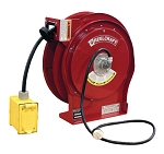 Extension cord reel with 50 feet of 12AWG 20 AMP power cord and GFCI duplex outlet