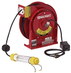 Reelcraft Retractable Cord Reel 16 AWG / 2 Cond  x 50ft, .3 AMP, Fluorescent Light, With Cord
