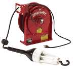 Reelcraft Retractable Cord Reel 16 AWG / 3 Cond  x 45ft, .3 AMP, Fluorescent Light, With Cord
