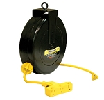 Reelcraft Retractable Cord Reel 16 AWG / 3 Cond  x 30ft, 10 AMP, Triple Outlet, With Cord