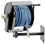 Swivel mount hand crank hose reel for 1/2 inch I.D. X 125 feet of hose up to 4000 PSI max working pressure