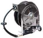 Reelcraft Stainless Steel Spring Retractable Water Hose Reel 3/8 x 35ft, 250 psi, with hose and nozzle