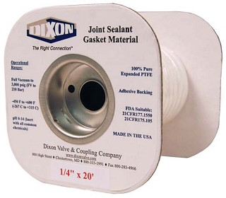 PTFE Joint Sealant Gasket Material 1/2 inch X 15 Feet long (per spool)