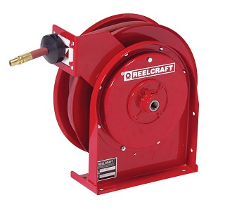 Reelcraft Compact Spring Retractable Hose Reel 1/4 x 25ft, 300 psi, for Air & Water service with hose included