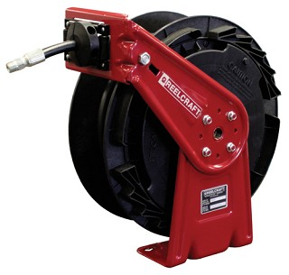 Reelcraft Light-Duty Spring Retractable Hose Reel 3/8 x 50ft, 1000 psi, for Oil service with hose included