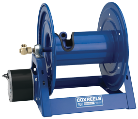 1125 Series hose reel with air motor (b) for 1 inch I.D. X 100 feet 3000 PSI max. pressure hose capacity