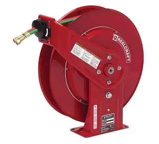 Reelcraft Retractable Welding Hose Reel 1/4 x 60ft, 200 psi, Gas Weld. T Grade With Hose