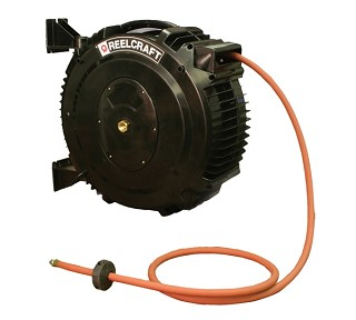 Reelcraft Poly SG Retractable Hose Reel 3/8 x 50ft, 232 psi, for Air & Water service with hose included