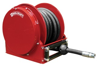 Reelcraft Low Profile Spring Retractable Hose Reel 3/4 x 50ft, 28 Hg~300 psi, for Vacuum Recovery service with hose included